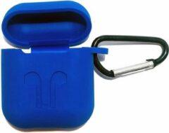 Donkerblauwe Unique Airpods 1/2 silicone bescherm case met clip -BLUE