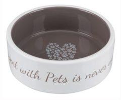 Trixie Keramische Kom Pet's Home - 1,4 L - Ø 20 Cm - Creme En Taupe - Voor Hond