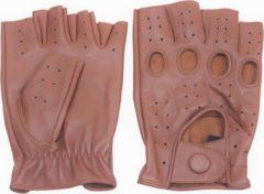Swift racing vingerloze, auto handschoenen | nappa bruin leer | voor mannen en vrouwen | maat XS
