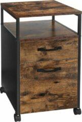 Nancy's Ladeblok Industrieel - Ladeblokken - Rolcontainer met Slot - 2 Lades - 41 x 45 x 66 cm - Bruin-Zwart