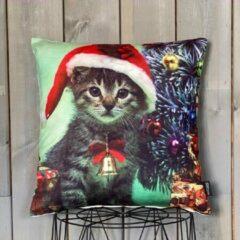 Groene Lekker Zacht Kerst Kussenhoes - Kitten met Kerstmuts