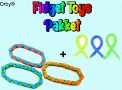 Orby® Fidget Toys Pakket 6-delig - 3x Wacky Track - 3x Monkey Noodles - Fidget Toys Pakket onder de 15 euro - Fidget Toys - Fidget toys box/set - Tiktok