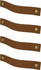 Handles and more Leren handgrepen /Platte greep - 4 stuks - LICHTBRUIN - maat M (19 x 2,5 cm) - incl. 3 kleuren schroefjes