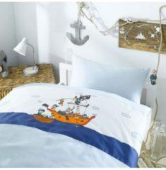 Mako-Satin Bettwäsche Piraten Lorena blau