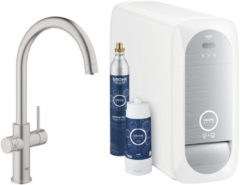 Bruisendwater Keukenkraan Grohe Blue Home Starterkit Chilled en Sparkling Water C Uitloop MONO of DUO (Chroom of RVS)