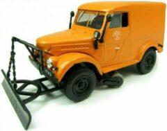 Oranje GAZ T-3 met sneeuwschuiver 1969 1/43 Atlas - Modelauto - Schaalmodel - Model auto