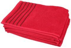 CLASS HOME COLLECTION Handtuch rot mit Streifen, 50 x 100 cm, 4er-Set