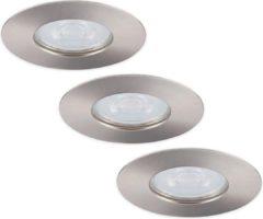 Roestvrijstalen HOFTRONIC™ LED inbouwspots 3 stuks - RVS - Rond - IP65 - GU10 - Dimbaar - Spot Bari - 5 Watt 3000K Warm Wit