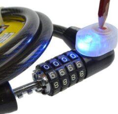 Zwarte Stahlex fietsslot kabelslot cijferslot scooterslot Ø 12mm / 1m met LED lampje