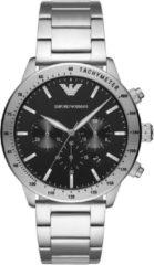 Emporio Armani AR11241 Horloge Mario Chrono staal zilverkleurig-zwart 43 mm