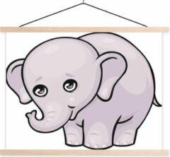 TextilePosters Een cartoon illustratie van een baby olifant schoolplaat platte latten blank 120x90 cm - Foto print op textielposter (wanddecoratie woonkamer/slaapkamer)