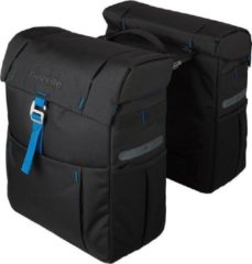 Gazelle Dubbele fietstas met mik adapter zwart/blauw met logo 37 Liter