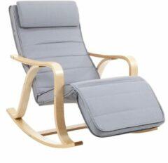 Beige Nancy's Schommelstoel - Relaxstoel - 5-voudig Verstelbare Kuitsteun - Fauteuils - Grijs - 67 x 125 x 91 cm