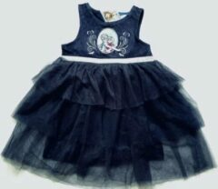 Disney Frozen jurk feestjurk velours/tule donkerblauw maat 116