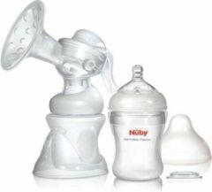 Transparante Nûby set: Handkolf - 2 flessen (1 x 150ml + 1 x 240ml) & 12 wegwerp borstkompressen