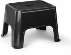 Forte Plastics Zwarte keukenkrukjes/opstapjes 40 x 30 x 28 cm - Keuken/badkamer/kasten opstap verhoging krukjes/opstapjes