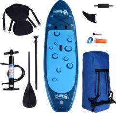 Blueborn SUP Traveller Blue 305x77x11cm, Stand Up Paddle Board Set inkl. Paddel, Kajak-Sitz, Fußstütze, Pumpe mit Druckmesser & Transporttasche, au