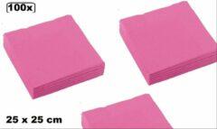 Roze Thema party 100x Servetten pink 25 x 25 cm - servet diner eten knoeien restaurant BBQ thema feest verjaardag feest