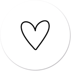 Beige Label2X Muurcirkel klein getekend hartje wit - Ø 30 cm - Forex (binnen)