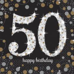 Merkloos / Sans marque Servetten 50 Jaar Happy Birthday 33x33cm 16 stuks