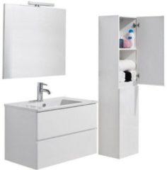 Witte L'Aqua Badmeubelset Locomo wit - 80 cm breed - greeploos met spiegel en hoge kolomkast