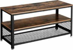 VASAGLE TV-tafel voor TV tot 43 inch, TV-meubel in industrieel ontwerp, console, lowboard, salontafel met metalen frame, houtnerf, salon, vintage, donkerbruin