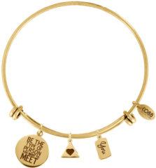 Goudkleurige CO88 Collection 8CB-13005 - Stalen bangle met bedels - affirmaties, hart en you - one-size - goudkleurig