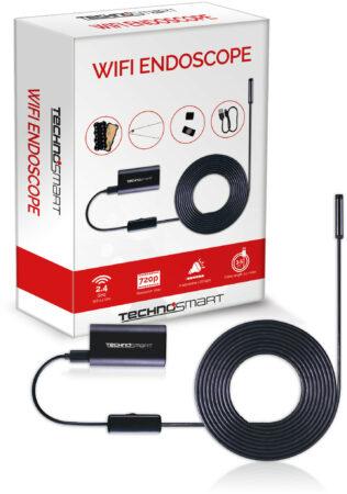 Afbeelding van Zwarte TECHNOSMART Inspectiecamera, Endoscoop Camera met Wifi, IP67 Waterdichte Inspectie Camera, HD Snake Camera met LED, 3,5 m Snoer, Incl. Accessoires