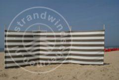 Strandwindschermen.nl Strand Windscherm 4 meter dralon taupe/wit met houten stokken