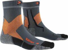 X-socks Hardloopsokken Run Fast Pa/pe/pp Grijs/oranje Mt 45-47