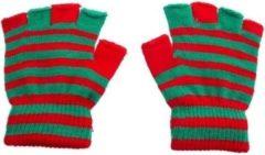 Merkloos / Sans marque Handschoenen zonder vingers rood groen - mofjes gestreept one size