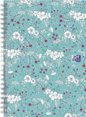 Oxford Floral - schrijfblok - B5 - Lijn - 120 pagina's - hardcover notitieboek - turquoise