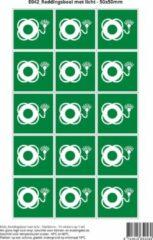 Groene Stickerkoning Pictogram sticker E042 Reddingsboei met licht - 50x50mm 15 stickers op 1 vel
