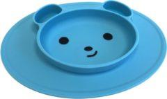 TOOBS Handige siliconen bordjes met vakjes beer motief Blauw en Roze | Kinderservies |Babybordje | Kinderbordje | kleur groen | BPA en PVC vrij bord 2 stuks in blauw en roze