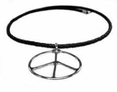Zwarte Bela Donaco Ketting peace sign - Sterling zilver - tribal serie