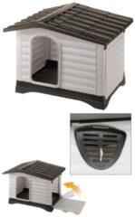 Antraciet-grijze FERPLAST Droogvoer Ferplast hondenhok dogvilla 70 grijs/bruin 73 x 59 x 53 cm