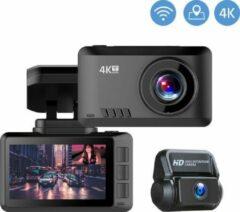 Zwarte TechU™ 4K Dashcam set MO2 Pro - Wifi - GPS - Voor en Achter - Super Night Vision - Dual Recording - Autocamera - Loop recording - Bewegingssensor - G-sensor