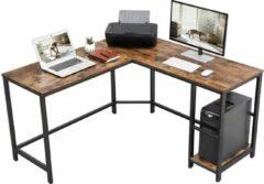 VASAGLE bureau, L-vormig computerbureau, hoekbureau met 2 planken, ruimtebesparend bureau in industrieel ontwerp, gaming, eenvoudige montage, vintage bruin-zwart