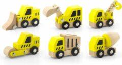 Viga Toys Houten Bouwvoertuigen Geel 6-delig