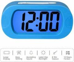 Winnes LCD Scherm Digitale wekker met siliconen omhulsel Schokbestendige lichtsensor Snooze-functie Werkt op batterijen Kinderen Student Luide wekker Geschenken voor jongens en meisjes | Blauw