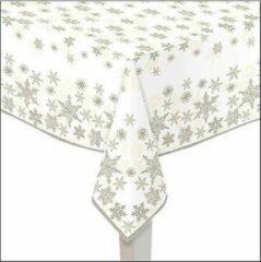 Bellatio Decorations 1x Papieren tafelkleden wit met gouden sterren print 140 x 220 cm - Kerst wegwerp/weggooi tafelkleden