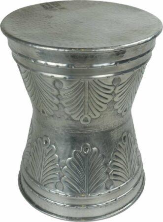 Afbeelding van Grijze Fine Asianliving Indische Salontafel Metaal Handgesneden 38x38x47cm Handgemaakt in India Chinese Meubels Oosterse Kast