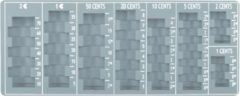 Muntsorteerbak Pavo - Euromunten - Inleglade - 275 x 110 x 20 mm - Grijs