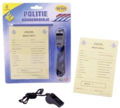 Gele Johntoy bonnenboekje politie met potlood en fluit 15 cm NL