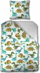 Donkergroene Mistral Home - Dekbedovertrek kids - 140x200+65x65 cm - 100% katoen - Met flessenhals - Dino - Wit, groen, blauw