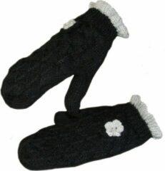 AOP Gebreide dames wanten fleece gevoerd kleur zwart grijs maat S M