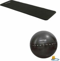 Tunturi - Fitness Set - Fitnessmat 180 x 60 x 1,5 cm - Gymball Zwart met Anti Burst 55 cm