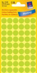 Avery Etiket Zweckform 12mm rond 5 vel a 54 etiketjes lichtgroen