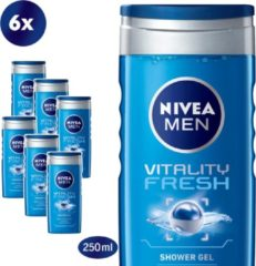 NIVEA MEN Vitality Fresh - 6 x 250 ml - Voordeelverpakking - Douchegel