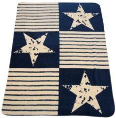 Beige Kuscheldecke Sterne & Streifen, 150 x 200 cm